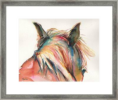 Horse Painting In Watercolor Serendipity Framed Print by Maria's Watercolor