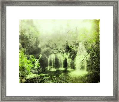 Soft And Serene Green Falls Framed Print