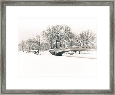 Serenity - Bow Bridge In The Snow - Central Park Framed Print