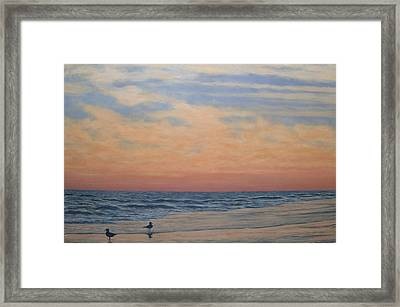 Framed Print featuring the painting Serenity - Dusk At The Shore by Kathleen McDermott
