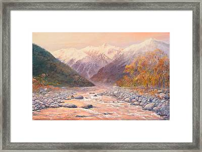 Serenity Mountains Framed Print by Peter Jean Caley
