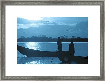 Serenity Of The Nature In Congo 2 Boat Men Calling It A Day At The Sunset Who Knew It Could Be So Pe Framed Print