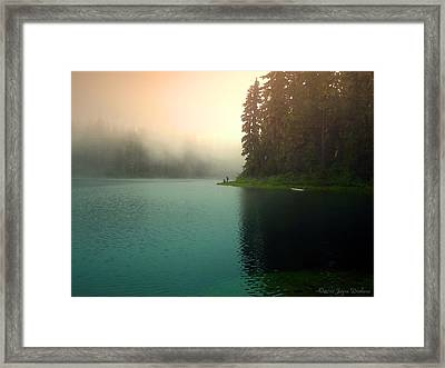 Serenity On Blue Lake Foggy Afternoon Framed Print by Joyce Dickens