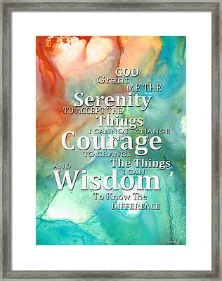 Serenity Prayer 1 - By Sharon Cummings Framed Print