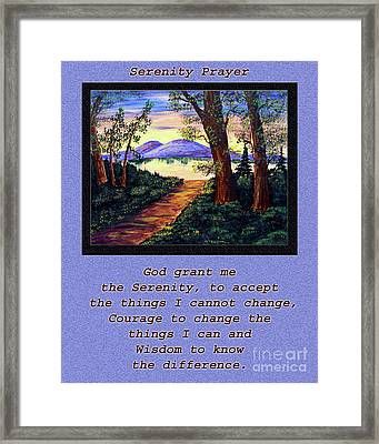 Serenity Prayer And Favorite Fishing Spot Framed Print by Barbara Griffin