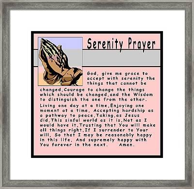 Serenity Prayer Framed Print by Barbara Snyder