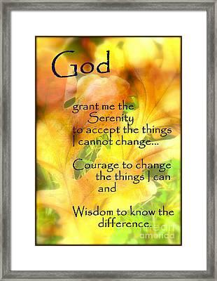 Serenity Prayer In Golden Leaves Framed Print by Ella Kaye Dickey