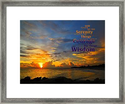 Serenity Prayer Sunset By Sharon Cummings Framed Print