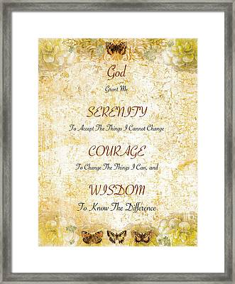 Serenity Prayer With Flowers And Butterflies Framed Print by Desiderata Gallery