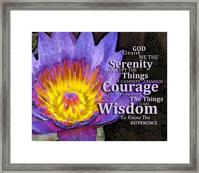 Serenity Prayer With Lotus Flower By Sharon Cummings Framed Print by Sharon Cummings