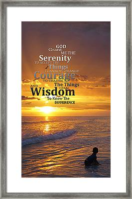 Serenity Prayer With Sunset By Sharon Cummings Framed Print by Sharon Cummings