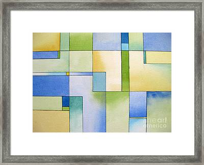 Serenity Watercolor Pen And Ink Geometric Abstract Painting Framed Print by Cherilynn Wood