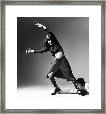 Serge Gainsbourg At The Foot Of Jane Birkin Framed Print by Bert Stern