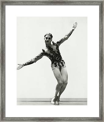 Serge Lifar Wearing A Painted Leotard Framed Print by George Hoyningen-Huene