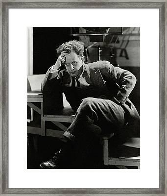 Sergei Eisenstein Sitting On A Staircase Framed Print by  Barr?