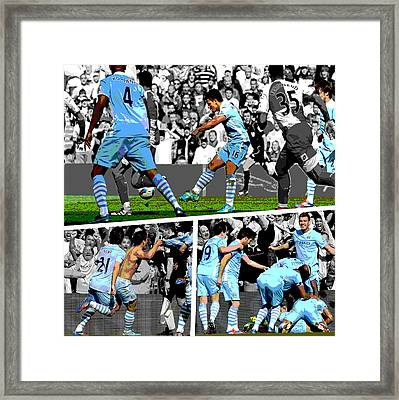 Sergio Aguero Goal Vs Qpr Framed Print