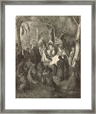 Sermon On The Mount Framed Print by Antique Engravings
