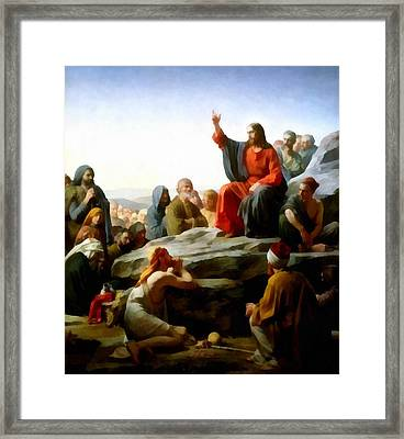 Sermon On The Mount Watercolor Framed Print by Carl Bloch