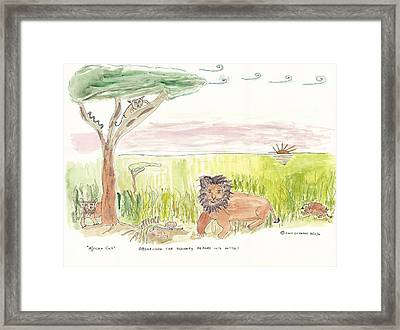 Framed Print featuring the painting Serrengetti Cats by Helen Holden-Gladsky