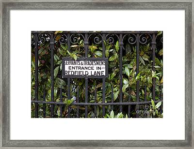 Servant And Tradesman Sign London  Framed Print by Thomas Marchessault