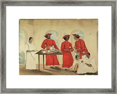 Servants On A Verandah Framed Print by British Library