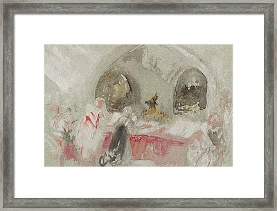 Service In The Chapel At Petworth Framed Print by Joseph Mallord William Turner