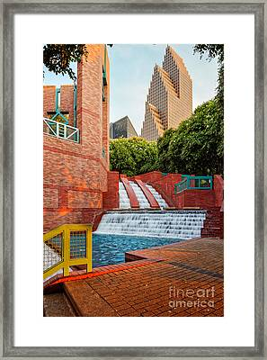 Sesquicentennial Fountains At Wortham Center - Downtown Houston Texas Framed Print by Silvio Ligutti