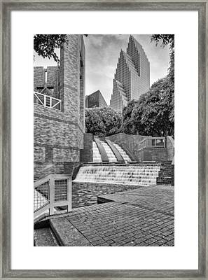 Sesquicentennial Fountains At Wortham Center In Black And White - Downtown Houston Texas Framed Print by Silvio Ligutti