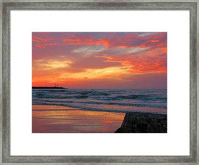 Sesuit Harbor At Dusk Framed Print by Dianne Cowen