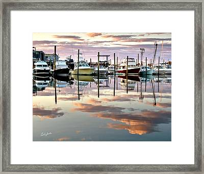 Sesuit Harbor Pastel Reflections Framed Print by Carl Jacobs