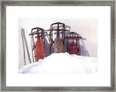 Set Aside Sleds Framed Print by Susan Crossman Buscho