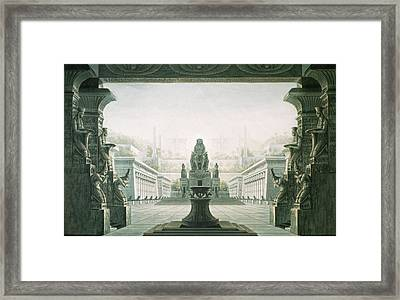 Set Design For Last Scene Of The Magic Flute By Wolfgang Amadeus Mozart 1756-91  Framed Print by Karl Friedrich Schinkel