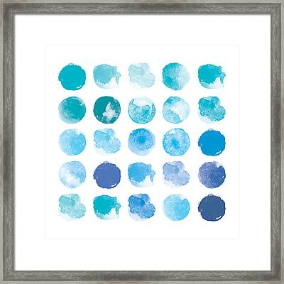 Set Of Colorful Watercolor Hand Painted Framed Print