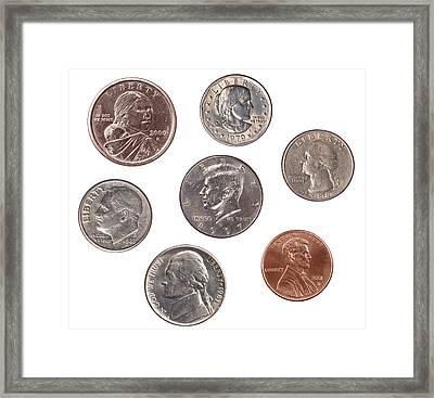 Set Of U.s. Coins Framed Print by Joe Belanger