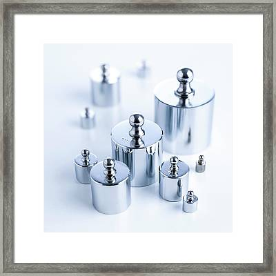 Set Of Weights Framed Print by Science Photo Library