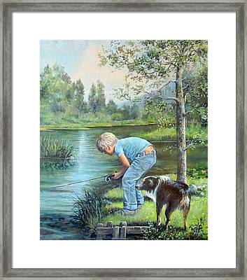 Seth And Spiky Fishing Framed Print