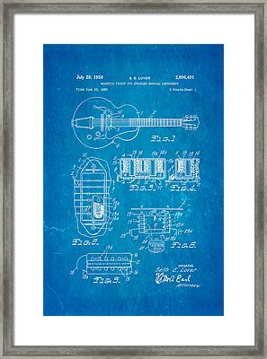 Seth Lover Gibson Humbucker Pickup Patent Art 1959 Blueprint Framed Print