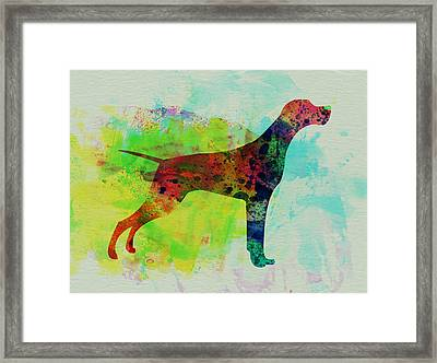 Setter Pointer Watercolor Framed Print by Naxart Studio