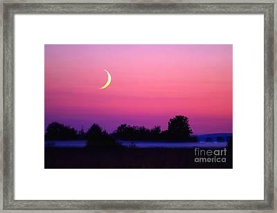 Setting Crescent Moon At Dusk Framed Print by Douglas Taylor