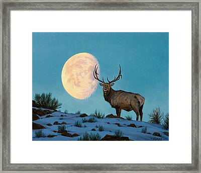 Setting Moon And Elk Framed Print by Paul Krapf