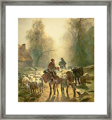 Setting Off For Market Framed Print by Constant-Emile Troyon