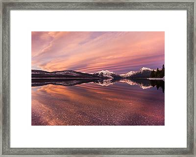 Setting On Glacier Framed Print by Aaron Aldrich