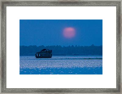 Setting Sun And Boat Framed Print