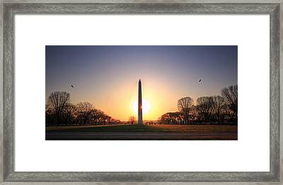 Setting Sun On Washington Monument Framed Print