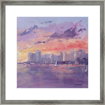 Setting Sun Over Boston  Framed Print by Laura Lee Zanghetti