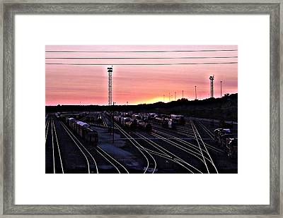 Setting Sun Shining Rails Framed Print by Elizabeth Sullivan