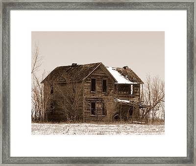 Settlers Dark Shadows House Sepia Framed Print