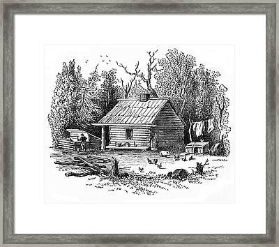 Settler's Log Cabin - 1878 Framed Print