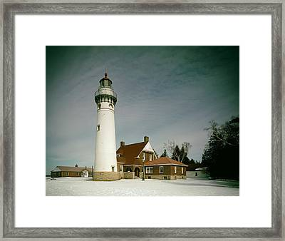 Seul Choix Point Lighthouse In Winter Framed Print