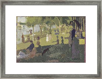 Seurat Sunday Afternoon At The Park Framed Print